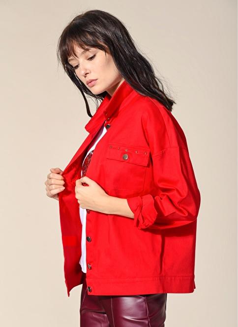 Agenda Zımba Detaylı Jean Ceket Kırmızı